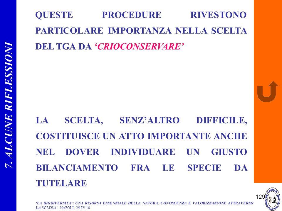 7. ALCUNE RIFLESSIONI QUESTE PROCEDURE RIVESTONO PARTICOLARE IMPORTANZA NELLA SCELTA DEL TGA DA 'CRIOCONSERVARE'