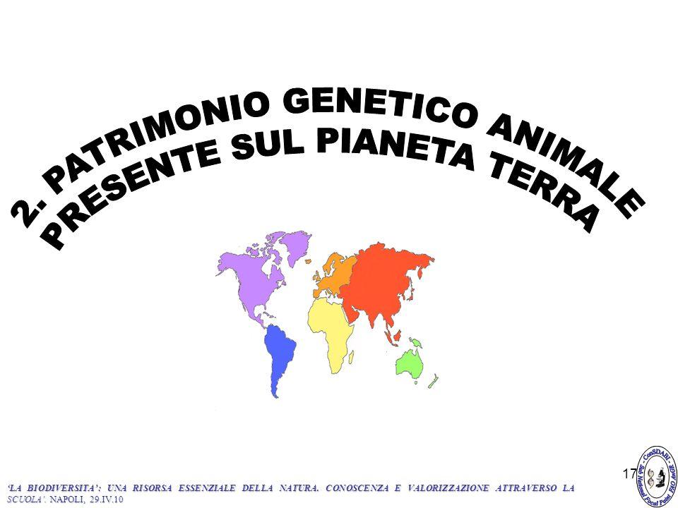 2. PATRIMONIO GENETICO ANIMALE PRESENTE SUL PIANETA TERRA