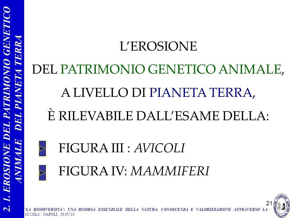 2. 1. EROSIONE DEL PATRIMONIO GENETICO ANIMALE DEL PIANETA TERRA