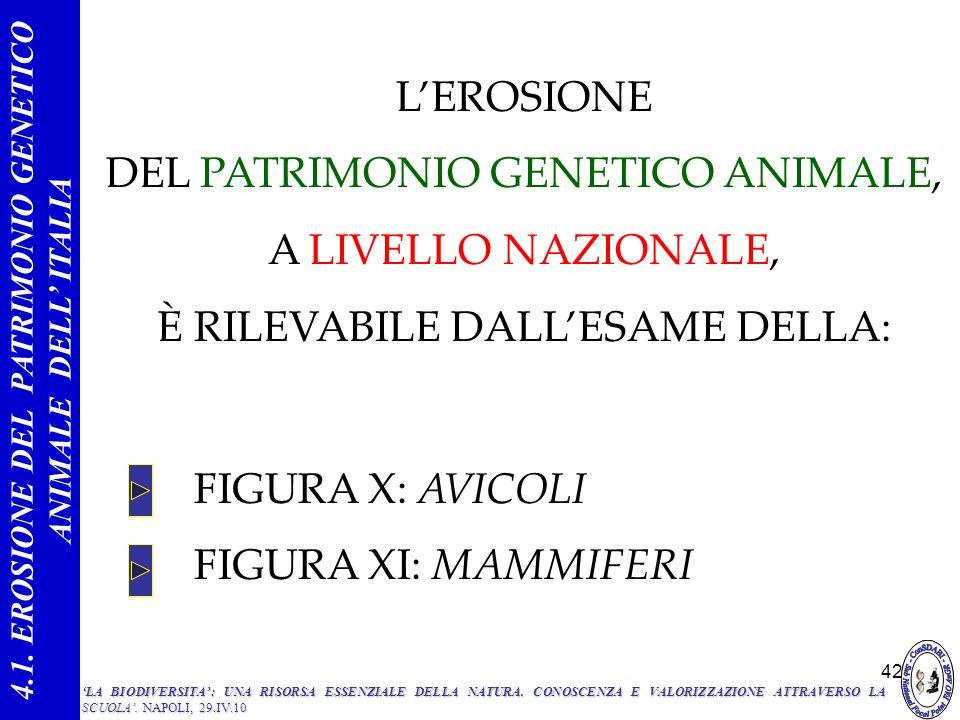 4.1. EROSIONE DEL PATRIMONIO GENETICO ANIMALE DELL' ITALIA