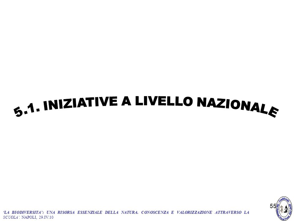 5.1. INIZIATIVE A LIVELLO NAZIONALE