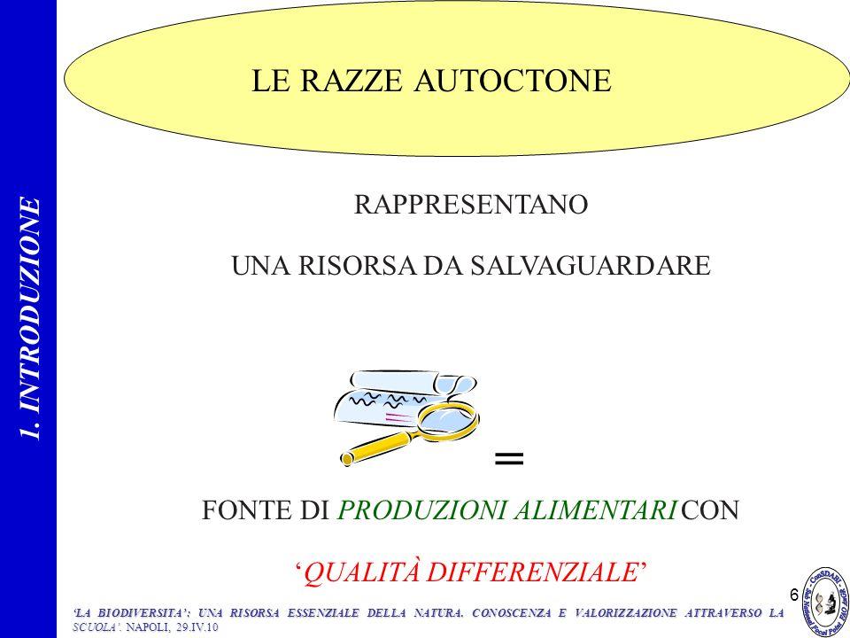 = LE RAZZE AUTOCTONE 1. INTRODUZIONE RAPPRESENTANO