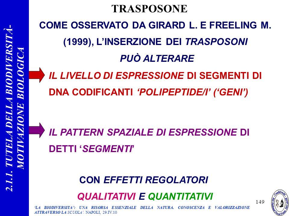 TRASPOSONE 2.1.1. TUTELA DELLA BIODIVERSITÀ- MOTIVAZIONE BIOLOGICA