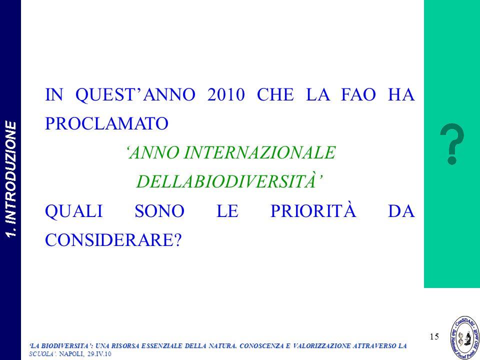 'ANNO INTERNAZIONALE DELLABIODIVERSITÀ'