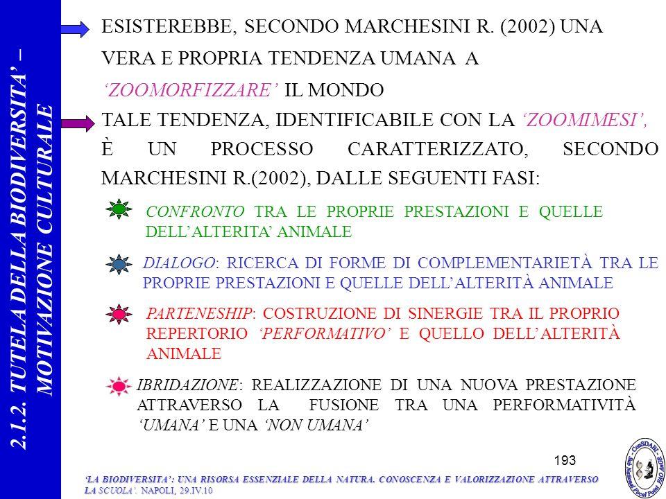 2.1.2. TUTELA DELLA BIODIVERSITA' – MOTIVAZIONE CULTURALE