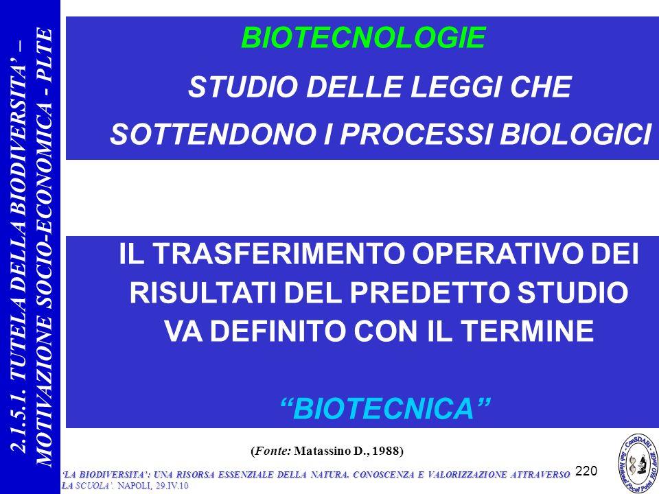 STUDIO DELLE LEGGI CHE SOTTENDONO I PROCESSI BIOLOGICI
