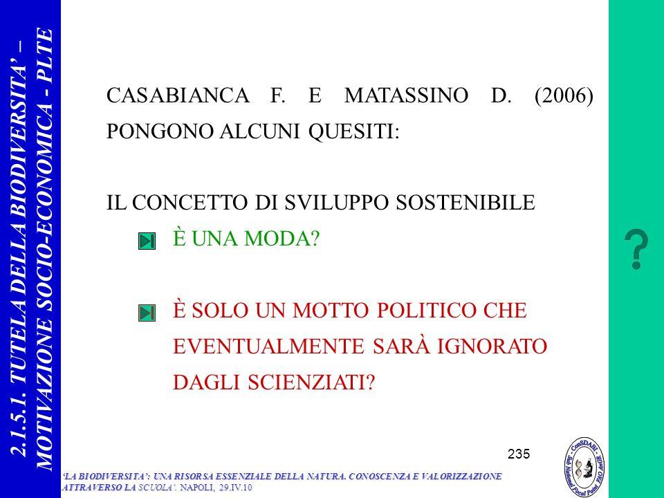 CASABIANCA F. E MATASSINO D. (2006) PONGONO ALCUNI QUESITI: