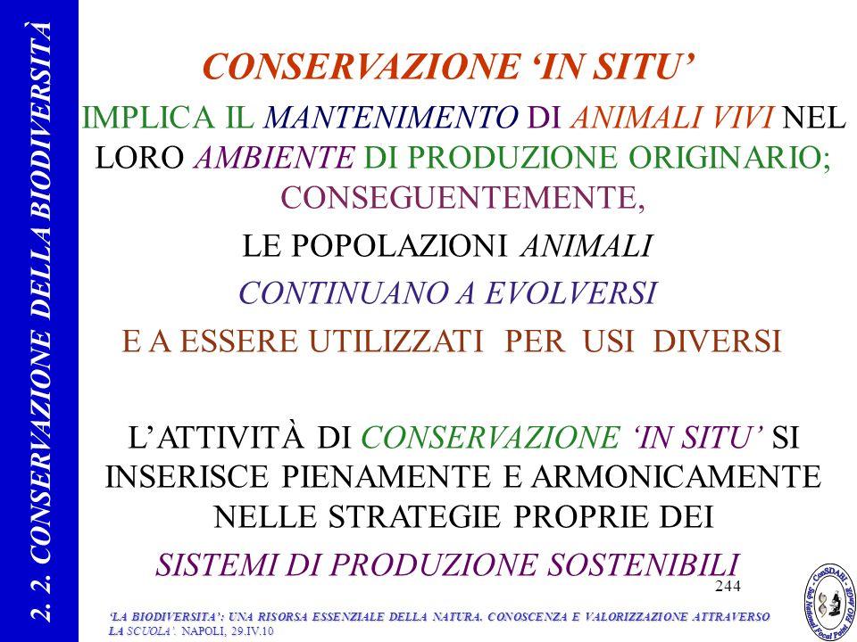 2. 2. CONSERVAZIONE DELLA BIODIVERSITÀ CONSERVAZIONE 'IN SITU'