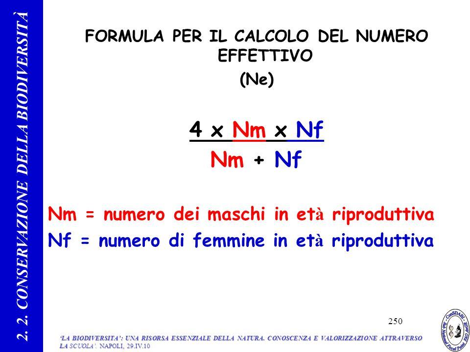 4 x Nm x Nf Nm + Nf Nm = numero dei maschi in età riproduttiva