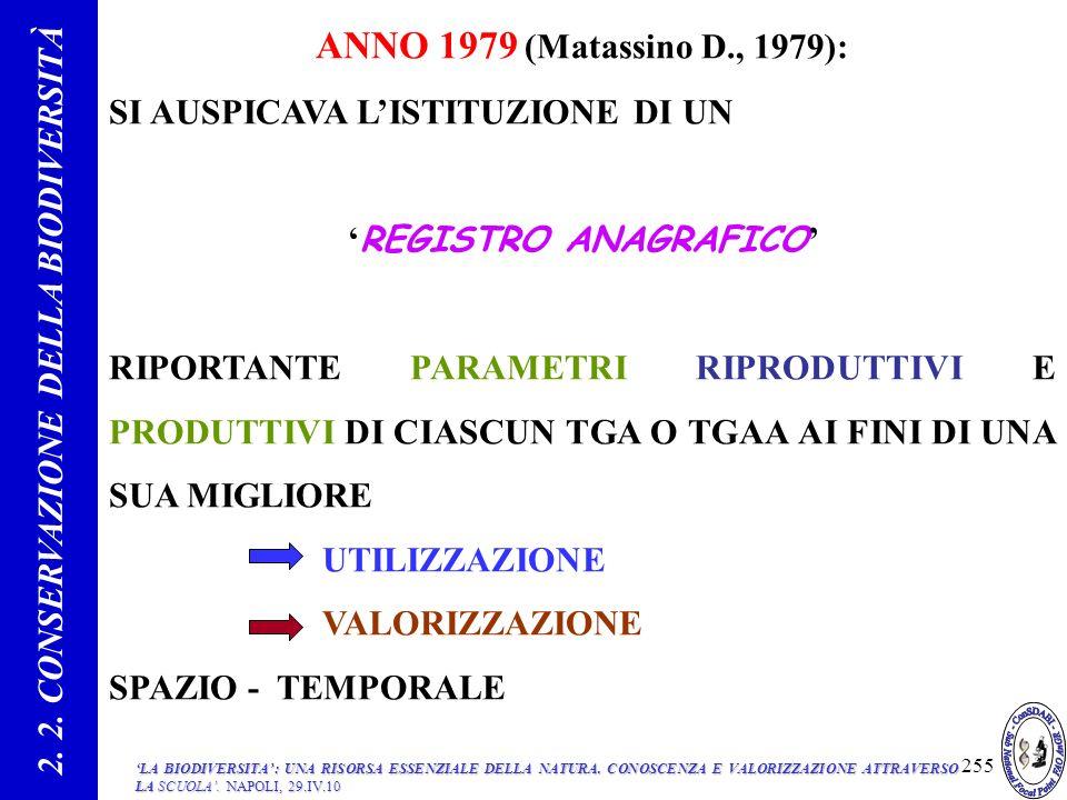 2. 2. CONSERVAZIONE DELLA BIODIVERSITÀ 'REGISTRO ANAGRAFICO'