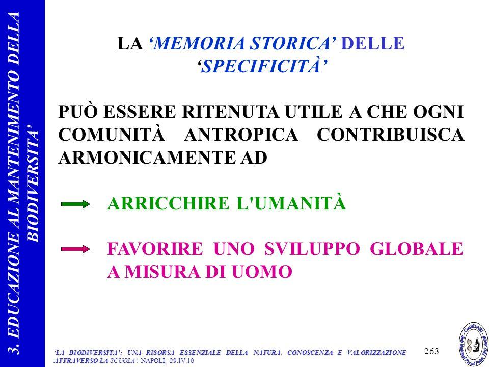 LA 'MEMORIA STORICA' DELLE 'SPECIFICITÀ'