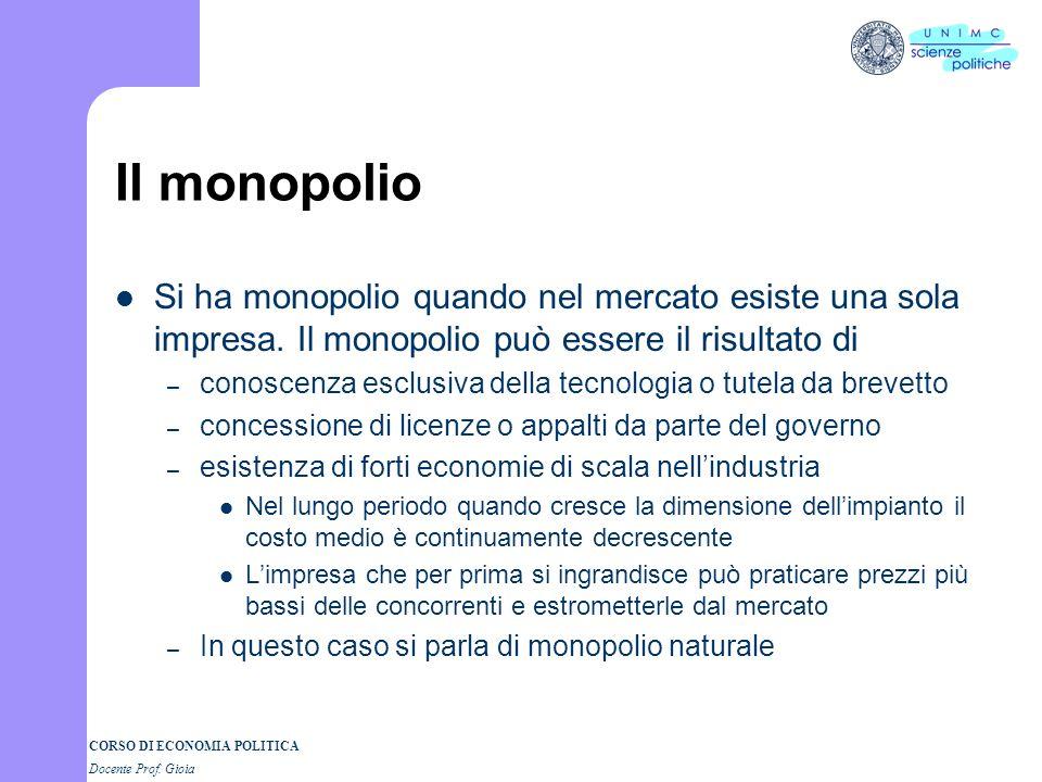 Il monopolio Si ha monopolio quando nel mercato esiste una sola impresa. Il monopolio può essere il risultato di.
