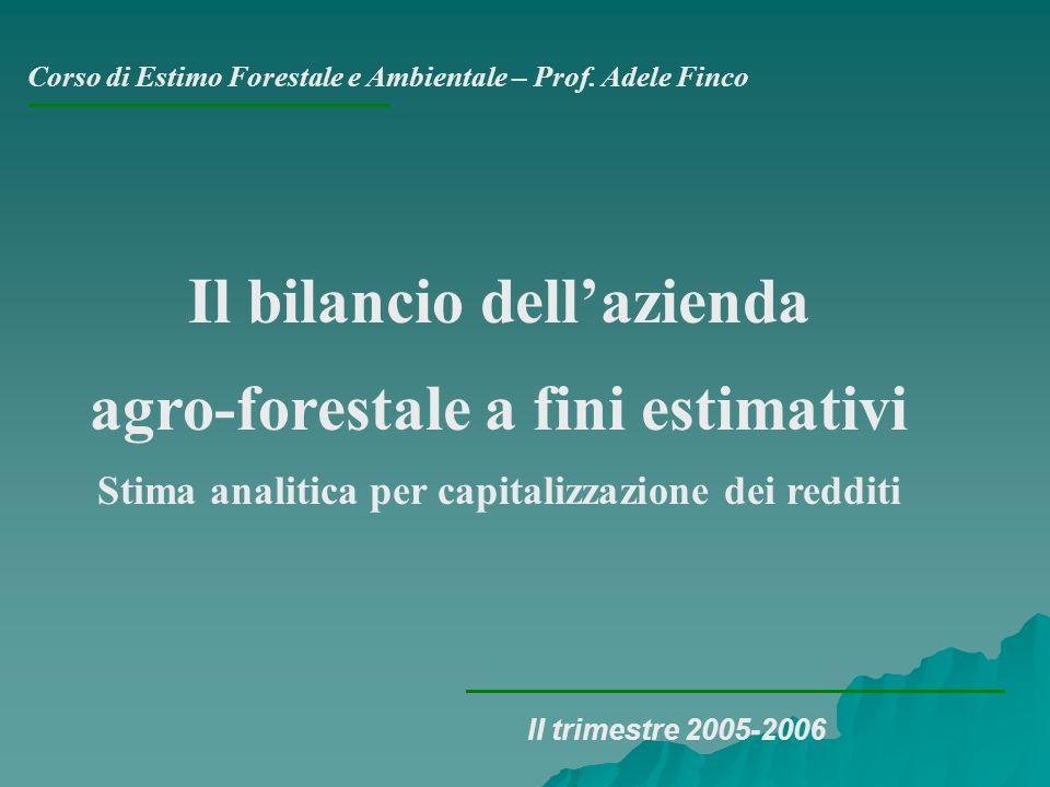 Il bilancio dell'azienda agro-forestale a fini estimativi