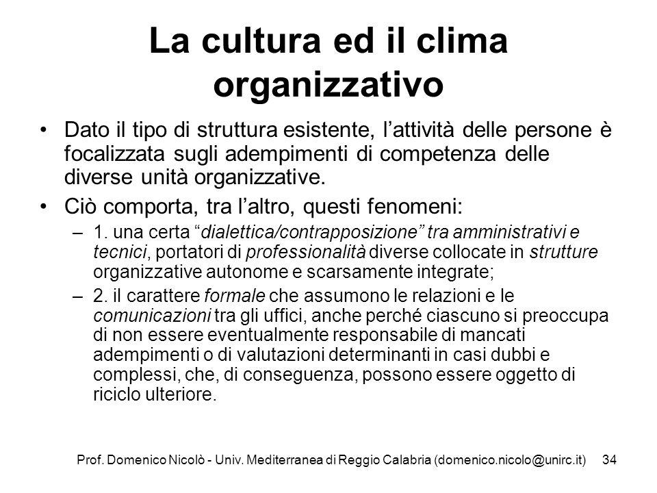 La cultura ed il clima organizzativo