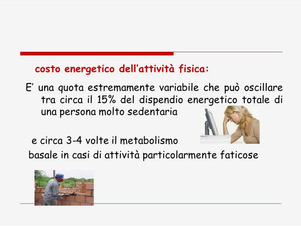 costo energetico dell'attività fisica: