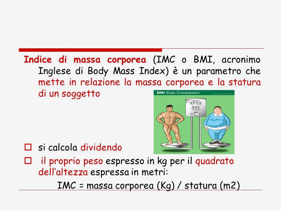 Indice di massa corporea (IMC o BMI, acronimo Inglese di Body Mass Index) è un parametro che mette in relazione la massa corporea e la statura di un soggetto