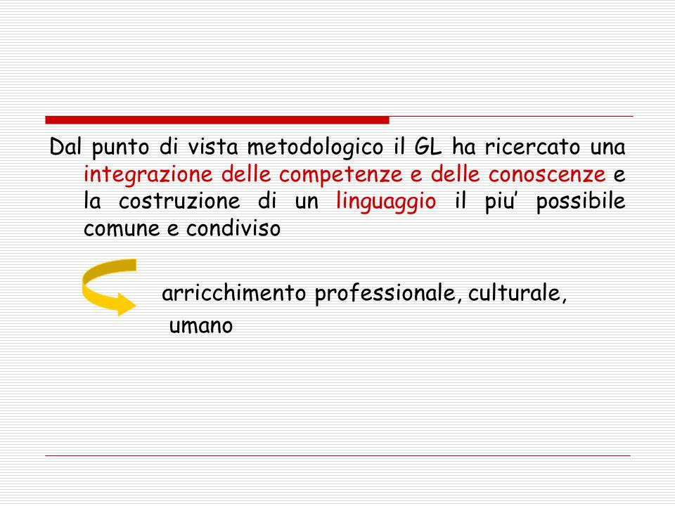 Dal punto di vista metodologico il GL ha ricercato una integrazione delle competenze e delle conoscenze e la costruzione di un linguaggio il piu' possibile comune e condiviso