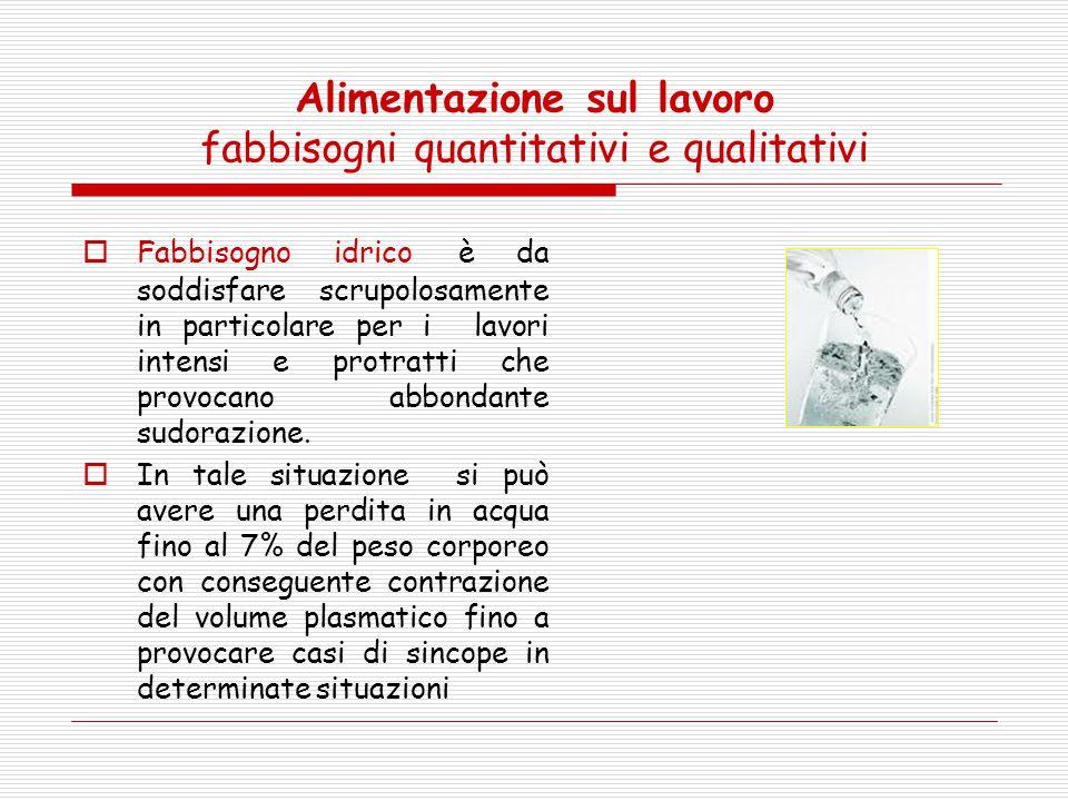 Alimentazione sul lavoro fabbisogni quantitativi e qualitativi