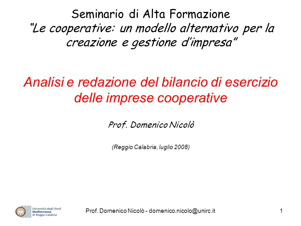 Seminario di Alta Formazione Le cooperative: un modello alternativo per la creazione e gestione d'impresa