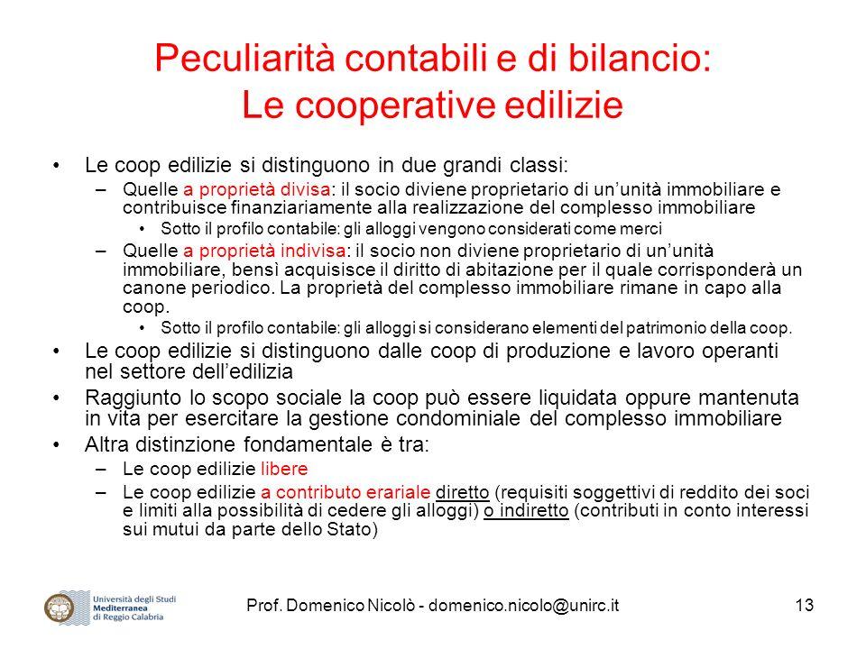 Peculiarità contabili e di bilancio: Le cooperative edilizie