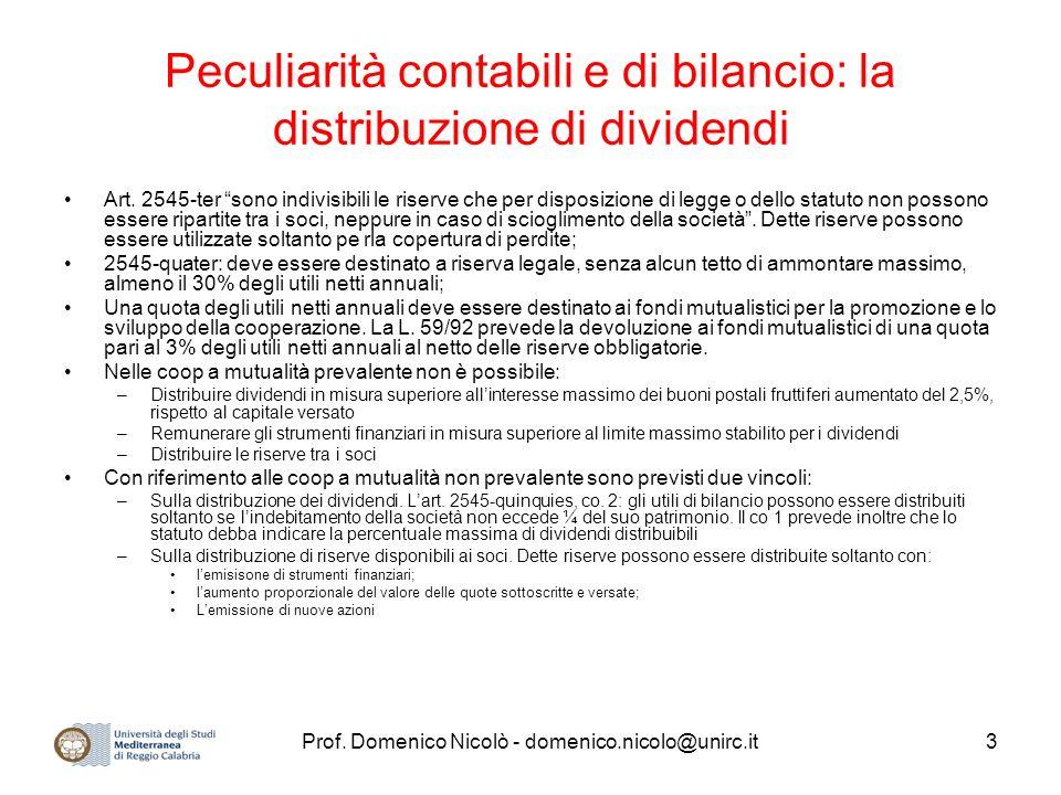 Peculiarità contabili e di bilancio: la distribuzione di dividendi