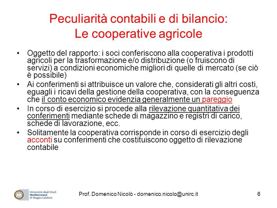 Peculiarità contabili e di bilancio: Le cooperative agricole