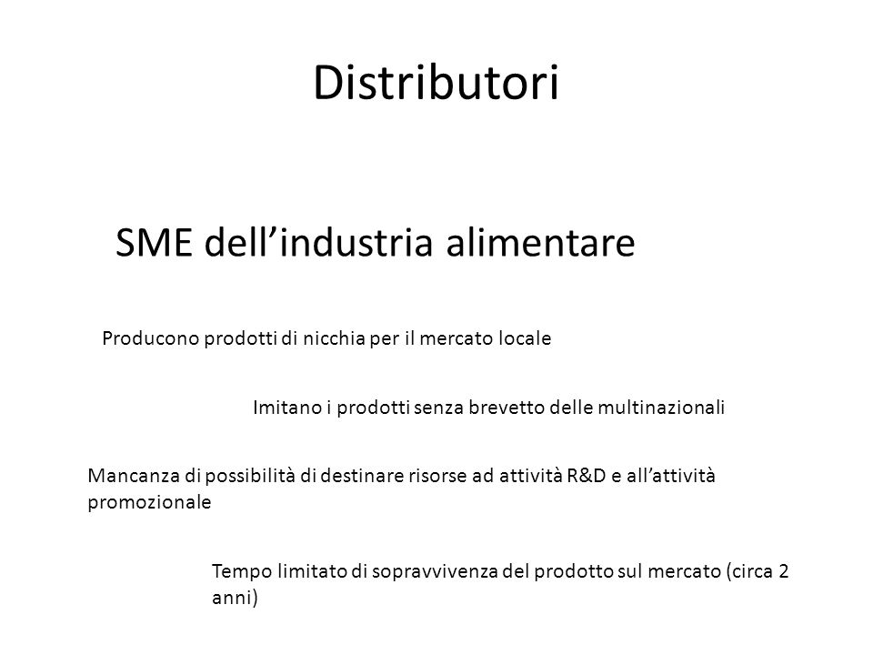 Distributori SME dell'industria alimentare