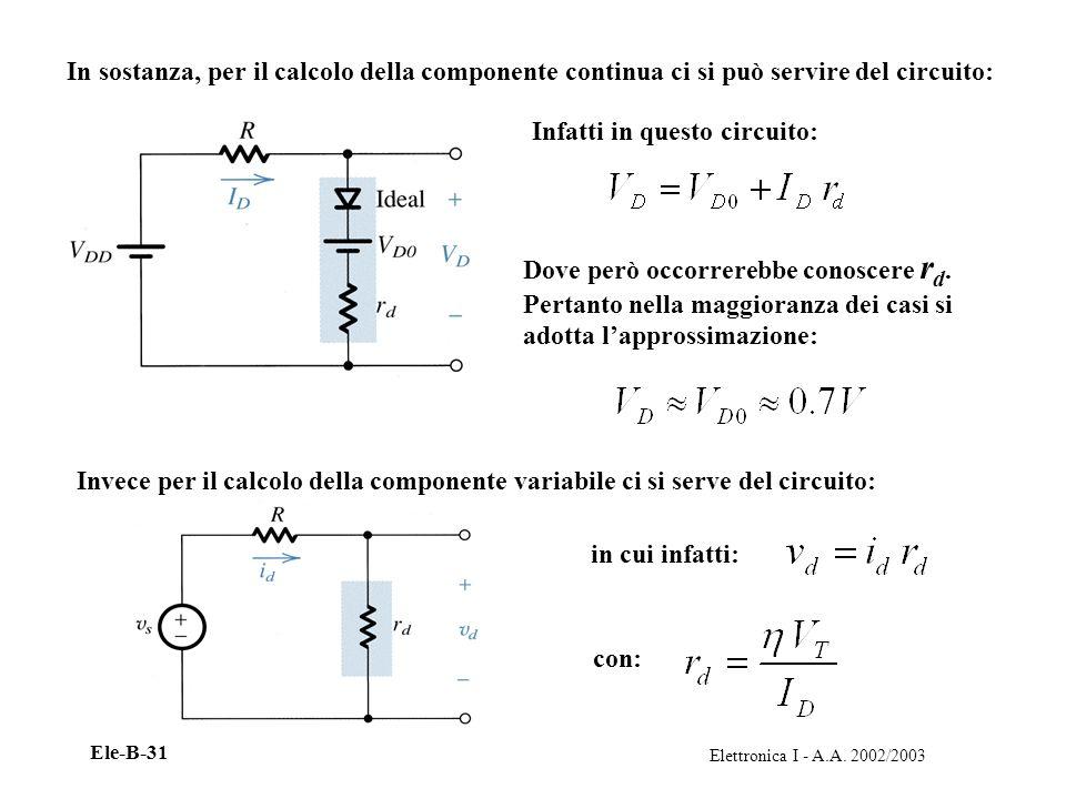In sostanza, per il calcolo della componente continua ci si può servire del circuito: