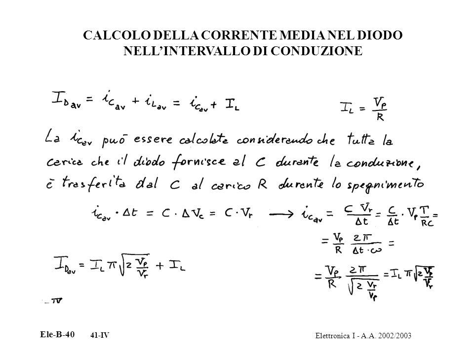 CALCOLO DELLA CORRENTE MEDIA NEL DIODO NELL'INTERVALLO DI CONDUZIONE