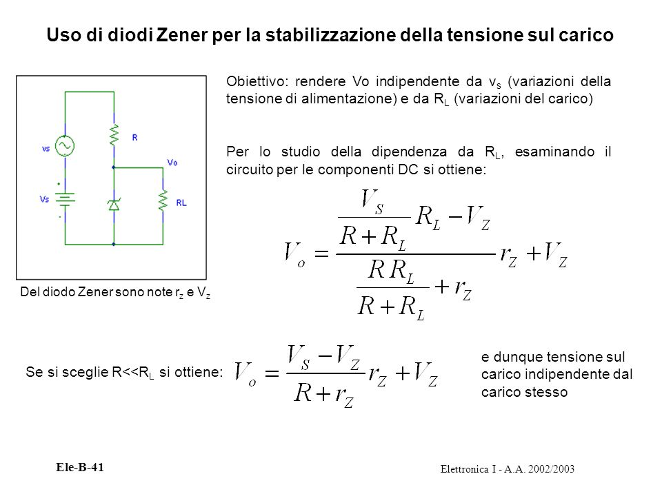 Uso di diodi Zener per la stabilizzazione della tensione sul carico