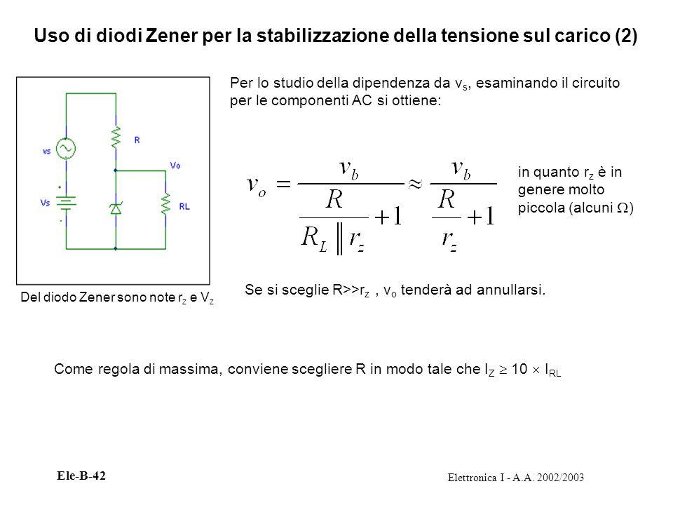 Uso di diodi Zener per la stabilizzazione della tensione sul carico (2)