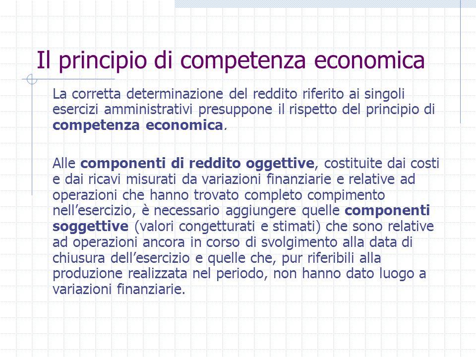 Il principio di competenza economica