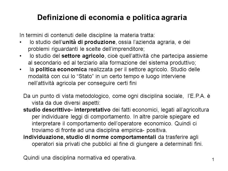 Definizione di economia e politica agraria