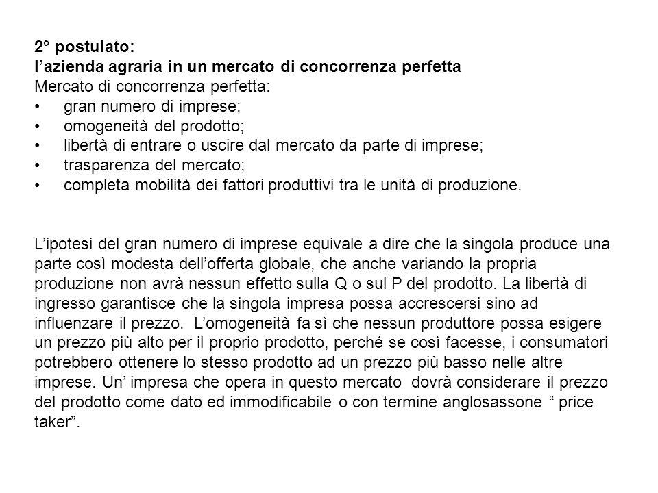 2° postulato: l'azienda agraria in un mercato di concorrenza perfetta. Mercato di concorrenza perfetta:
