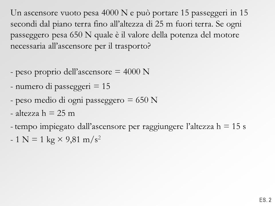 - peso proprio dell'ascensore = 4000 N numero di passeggeri = 15