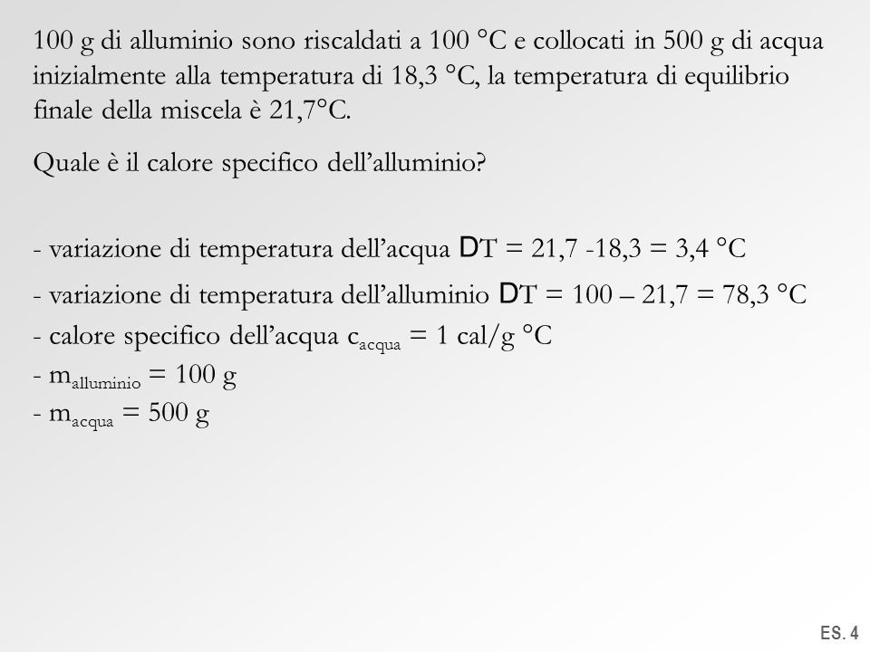 Quale è il calore specifico dell'alluminio