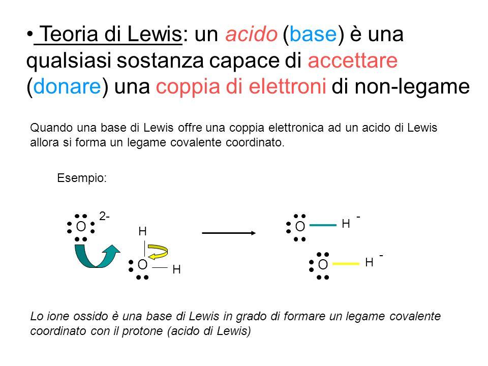 Teoria di Lewis: un acido (base) è una qualsiasi sostanza capace di accettare (donare) una coppia di elettroni di non-legame