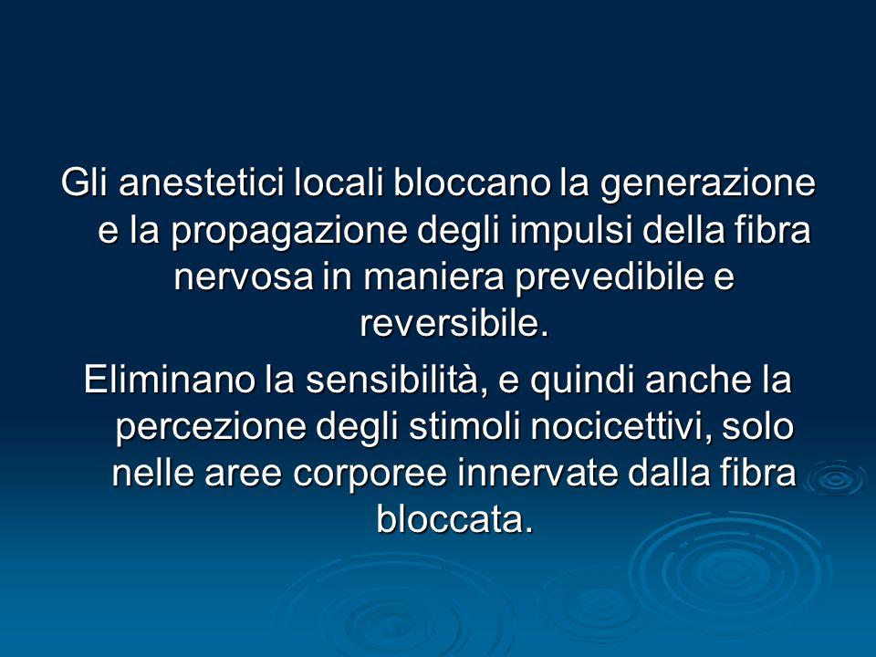 Gli anestetici locali bloccano la generazione e la propagazione degli impulsi della fibra nervosa in maniera prevedibile e reversibile.