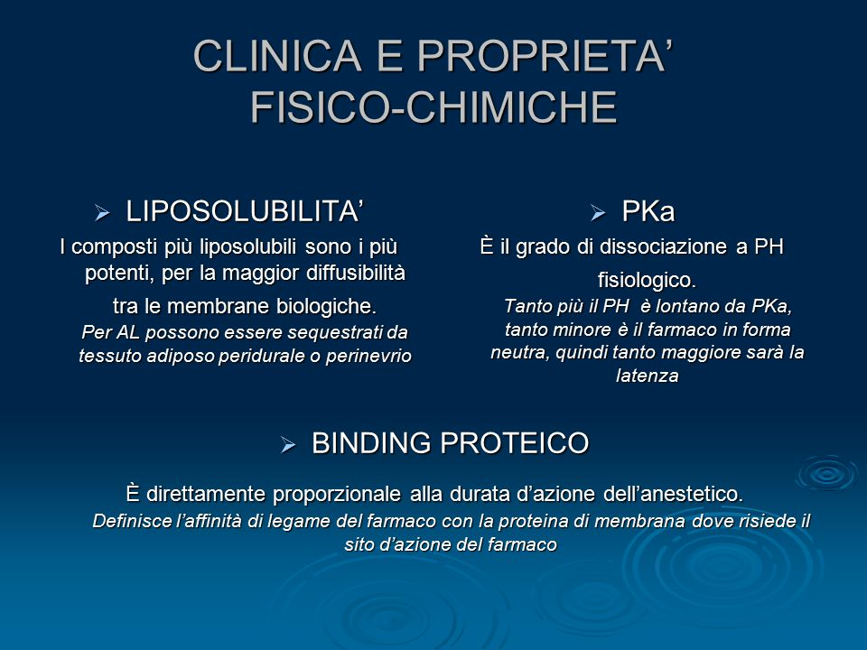CLINICA E PROPRIETA' FISICO-CHIMICHE