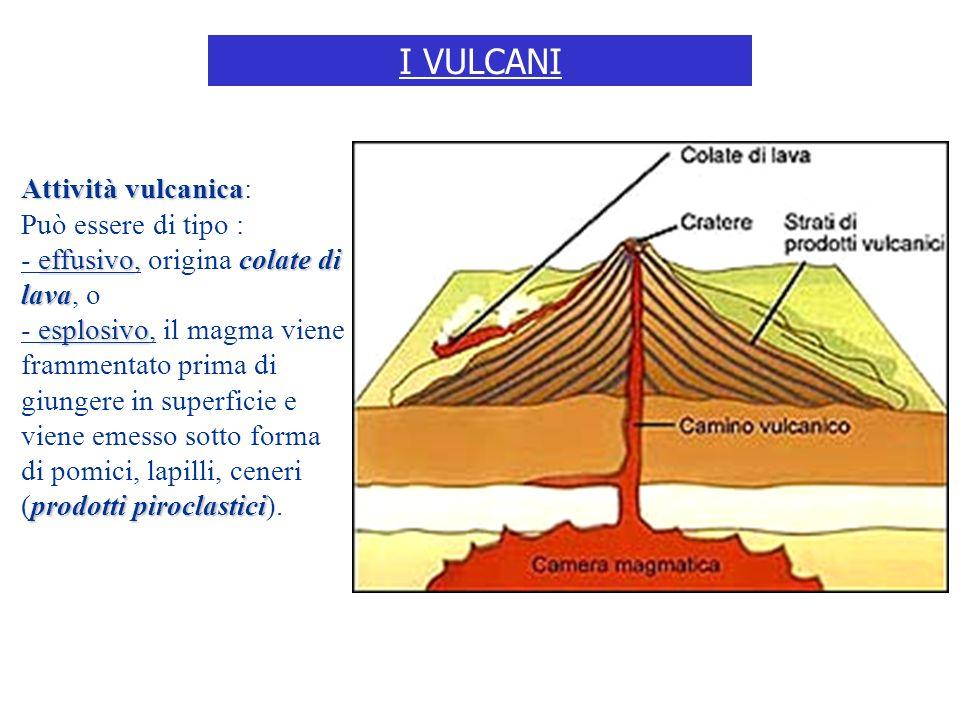 I VULCANI Attività vulcanica: Può essere di tipo :
