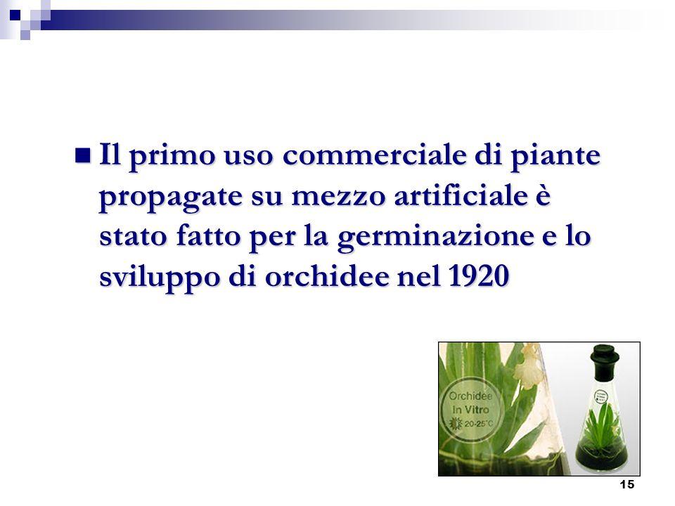 Il primo uso commerciale di piante propagate su mezzo artificiale è stato fatto per la germinazione e lo sviluppo di orchidee nel 1920