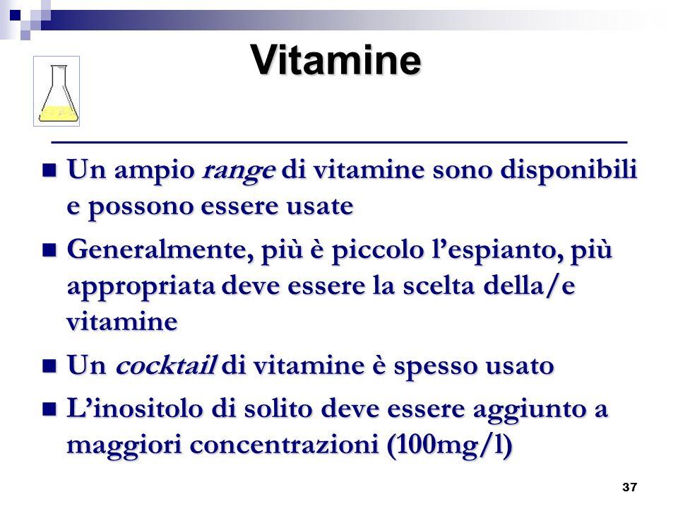 Vitamine Un ampio range di vitamine sono disponibili e possono essere usate.