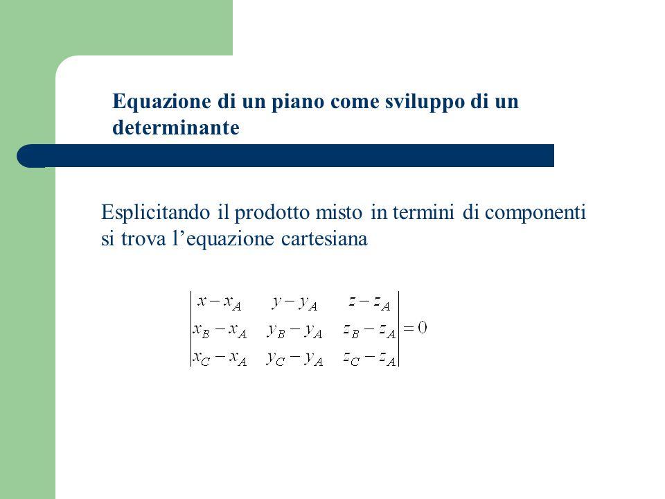 Equazione di un piano come sviluppo di un determinante