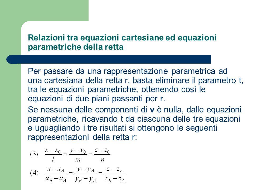Relazioni tra equazioni cartesiane ed equazioni parametriche della retta