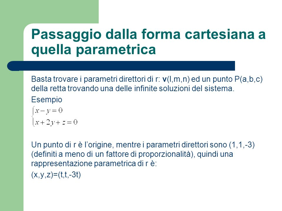 Passaggio dalla forma cartesiana a quella parametrica
