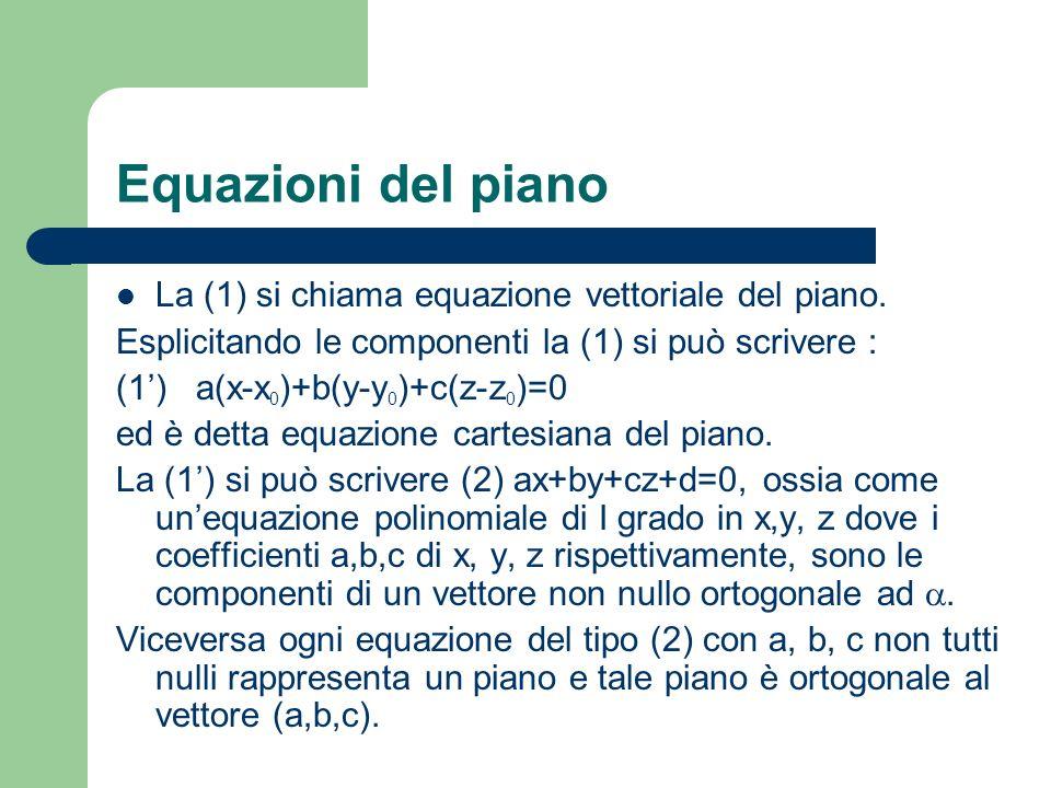 Equazioni del piano La (1) si chiama equazione vettoriale del piano.