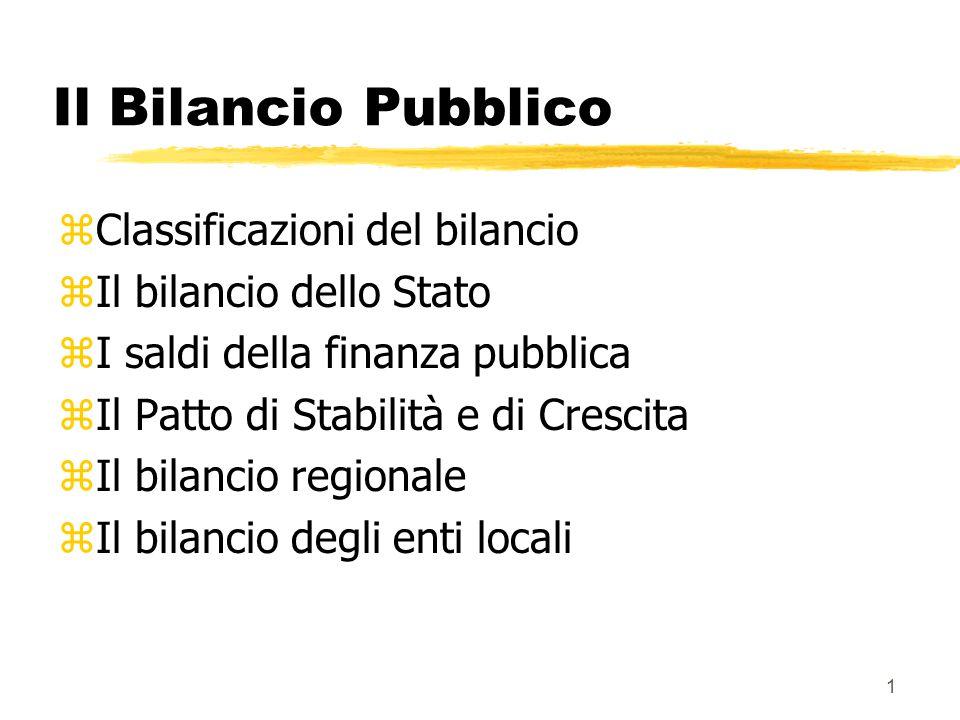 Il Bilancio Pubblico Classificazioni del bilancio