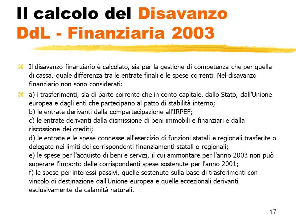 Il calcolo del Disavanzo DdL - Finanziaria 2003
