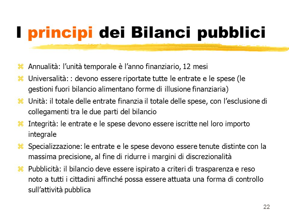 I principi dei Bilanci pubblici