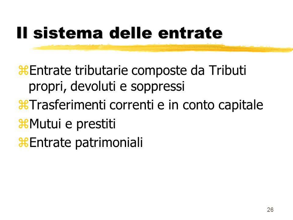 Il sistema delle entrate